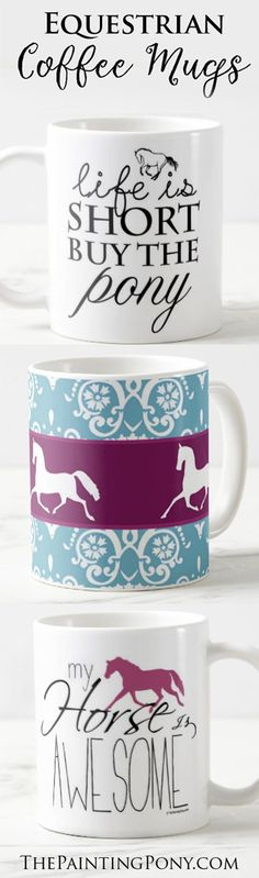 Horse Lover Coffee Mugs! These cute ceramic 11 of 15 ounce coffee mug feature colorful and fun equestrian artwork and make the perfect gift for the horsey friend, trainer, or other equine professional. An affordable gift for anyone who loves horses, ponies, and horseback riding.