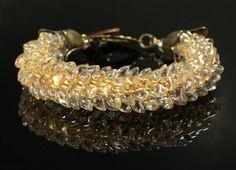 Bronze Kumihimo Bracelet, Magatama Jewelry, Honey Beige, 8th Wedding Anniversary, Vintaj, Feather, Dragon's Scale, Beaded, Braided, Golden on Etsy, $40.00