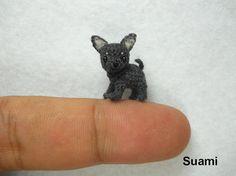 Micro Black Gray Chihuahua Dog - Tiny Crochet Dollhouse Miniature Pet - Made to Order by SuAmi on Et Cute Baby Pugs, Baby Pug Dog, Pet Dogs, Black Chihuahua, Chihuahua Love, Vizsla, Crochet Dinosaur, Mini Dogs, Dog Crafts