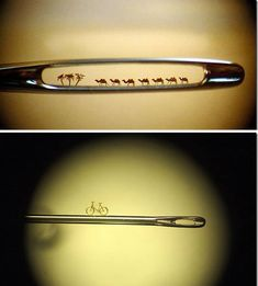 Who says you can't put a camel through the eye of a needle? Russian miniaturist Nikolai Aldunin has fit seven through this one. The artist works between the beats of his heart, in order to keep his hands perfectly still. He creates works of art so tiny that a microscope is needed to see them