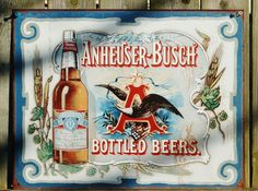 Pin Anheuser Busch budweiser American Eagle Bud Tin Sign Garage Bar Beer Alcohol 18