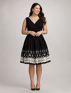 Plus Size Embroidered Fit-and-Flare Dress