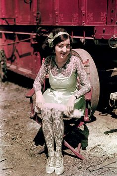 Tattooed Lady photographed for National Geographic, 1931 (via)