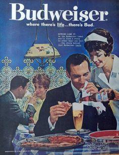 Budweiser Beer 60 s Vintage print ad  Color Illustration  pizza and beer  1961 Post Magazine Art