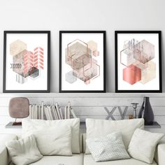 Set of 3 geometric printable posters Downloadable trio of 3 | Etsy Printing Services, Online Printing, Printable Art, Printables, Copper And Pink, Abstract Geometric Art, Grey And Beige, Beige Walls, Creative Gifts