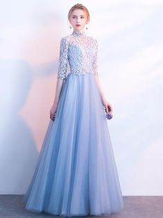 2018 Prom Dress High Neck Floor-length Lace Cheap Prom Dress/Evening Dress # - Wedding World Cheap Evening Dresses, Cheap Prom Dresses, Trendy Dresses, Evening Gowns, Nice Dresses, Bridesmaid Dresses, Cheap Dress, Wedding Dress With Pockets, Prom Dresses With Sleeves
