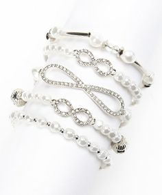 Take a look at this White & Silver Infinity Stretch Bracelet Set by Mica on #zulily today! $19 !!