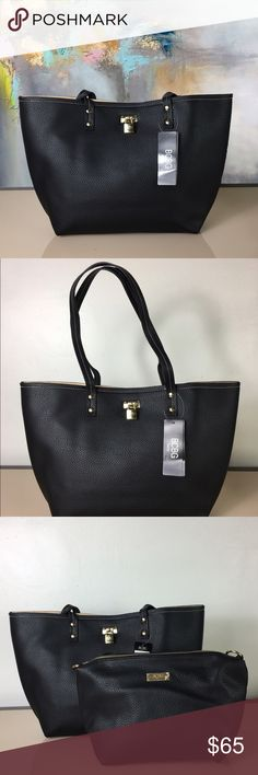 🔥Last One🔥BCBG Reversible Lock Tote & Crossbody This reversible duo is like four bags in one buy. Style with the neutral hue or flip inside-out for a change of pace. Organize essentials in the pouch or slide on a removable strap for versatile carrying.  Includes tote and crossbody bag Tote: 19'' W x 11.5'' H x 3.5'' D Crossbody bag: 14'' W x 9'' H x 4'' D 12'' shoulder drop 46'' max. strap length Zip closure Interior: one zip and two slip pockets Removable strap Imported BCBG Bags Totes