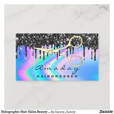 Holographic Hair Salon Beauty Black Drips Scissors Business Card