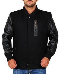 Michael B Jordan Letterman Jacket Michael B Jordan, Black Bomber Jacket, Knitting Designs, Rib Knit, Jordans, Men Sweater, Celebs, Sleeves, Celebrity