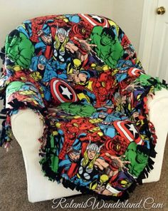 Marvel Comic Pack Custom Blanket - No Sew Fleece Blanket / Machine Sewn Blanket / Newborn to California King Bedding by RolanisWonderland on Etsy