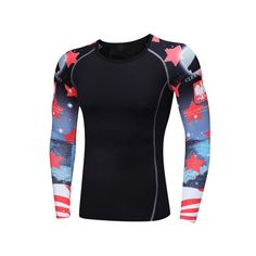 Tight T-shirt Long Sleeves Weight Lifting Wear Muscle Men Compression Double Sides Prints MMA Rashguard Fitness Base Layer