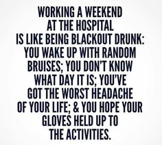 Working a weekend at the hospital is like being black out drunk. Ed Nurse, Psych Nurse, Nurse Life, Baby Nurse, Hello Nurse, Nursing School Humor, Nursing Memes, Nicu Nursing, Trauma Nurse