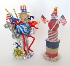 Enter SpringSale20 in the coupon code at checkout for 20% off your total purchase.    This is a vintage style creation featuring an old spun cotton Uncle Sam head made in Japan during the 40-50s. Sams body is an old satin ornament and vintage pipe cleaners were used for the arms and legs.  He is sitting on a vintage silver bell ornament. In one hand he is holding a vintage paper flag and in the other is an old patriotic horn that used to be a cupcake pick.  The bell is decorated with very…