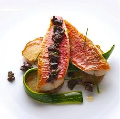 """Fried Fillet of Surmullet, Sauté of Potato & Courgette Ribbons in Tapenade.  Extract from the book """"Best of Alain Ducasse""""."""