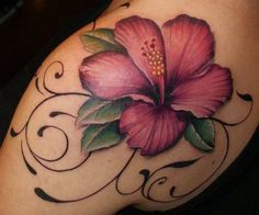 hawaiian-flower-sleeve-tattoo-designs.jpg (450×374)