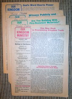 Complete set of KM's from1983 Watchtower IBSA N H Knorr Jehovah Franz