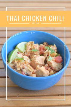 Simple crockpot Thai chicken chili recipe, naturally gluten free and full of flavor for a fun unique chili dinner