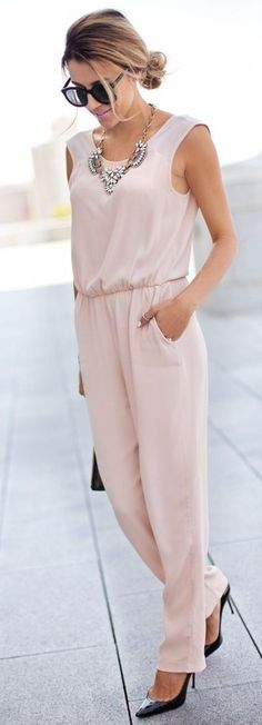 Zara Pale Pink Women's Summer Street Chic Jumpsuit | Trend To Try: Jumpsuits | Hello Fashion Source