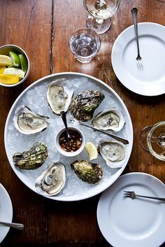 Oysters - great food idea for a cocktail party appetizer, or a wedding reception in spring or summer