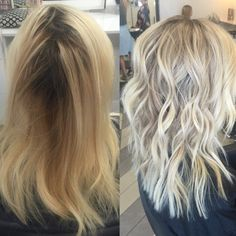 """""""This was a first time client with hair that had been colored and bleached for many years, about 2 cm of natural root color that was between an 8 and 7,"""" says Malin Holm (@moy.hairsalon) of Moy.Hair Salon, Vaasa, Finland. """"We were aiming for a more natural look, cool blonde and not having to keep coloring the outgrowth every 6th week."""" Holm shares the how to create this rooty ashy sombre:"""
