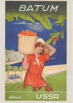 Seven decades of Soviet propaganda – in pictures>This tourism poster from the advertises what is now the Georgian seaside city of Batumi. Photograph: David Pollack/K. Retro Poster, Vintage Travel Posters, Vintage Postcards, Georgie, Propaganda Art, Tourism Poster, Socialist Realism, Soviet Art, Grafik Design
