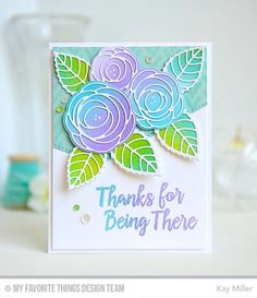 Handmade card from Kay Miller featuring the Lisa Johnson Designs Scribble Roses and Scribble Roses Overlay Die-namics and Thanks So Much stamp set #mftstamps