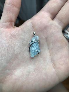 Aquamarine tension set in forged sterling silver pendant by CrystalAnatomy on Etsy