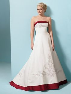 two colored wedding dresses | Formal Wedding Dresses: Red Color Accent Wedding Dress