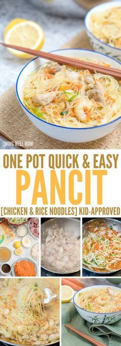 Pancit One-Pot Pancit is a quick and easy rice noodle dinner the whole family will love. With chicken, shrimp, and vegetables, this delicious recipe is gluten-free and kid-approved too!One-Pot Pancit is a quick and easy rice noodle dinner the whole family Diet Soup Recipes, Seafood Recipes, Cooking Recipes, Seafood Soup, Spinach Recipes, Chili Recipes, Cooking Tips, Dinner Recipes, Easy Chicken Recipes