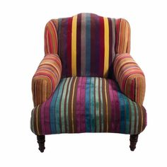 Retro Style Velvet Stripe Armchair