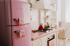 Pink tile work surface
