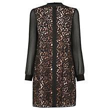 Buy Oasis Lace Chiffon Sleeve Dress, Black Online at johnlewis.com