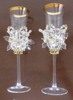 Copas para la Novia y el Novio decoradas por Martha Rek Accesorios