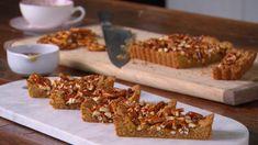Salted caramel pretzel bar slice