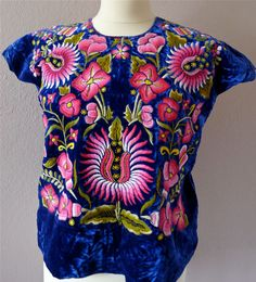 Mexican Embroidered Tehuana huipil Blue VELVET blouse  - Oaxaca - Frida Style - Sml/Med on Etsy, $245.00