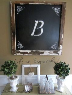 Paint an old window glass with chalkboard paint to make Shabby Decor. The stencil in the corners is a great idea as well.