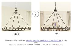 Restoration Hardware Camino Vintage Candelabra Chandelier $1,250 |Vs| @overstock Liam Oil Rubbed Bronze 24-Light Chandelier $610