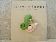 Christmas Elf  Pin  Brooch by countrycupboardclay on Etsy, $6.95