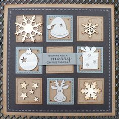 handmade card from Gerjanne's Gloependst (h) Iete! ... winter grid card ... 3X3 matted inchies ... kraft, gray, dusty blue and vanilla ... punched winter/Christmas elements ... snowflakes, package, bauble, reindeer ... like this card!