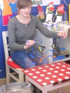 Verhaal schilderen op plexiglas. Als je iets nieuws wil schilderen kan je het schoonvegen met een vochtig doekje