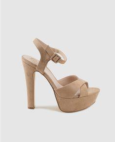 Sandalias de tacón de mujer de La Strada en color topo con plataforma
