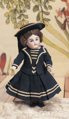Peanut Butter Picnics, Rainy Afternoons: 231 Bisque Closed Mouth Child by Kestner in Original Sailor Suit