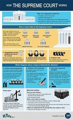 This Kids.gov poster explains how cases reach the Supreme Court, how the Justices make their decisions, and how new Justices are appointed. Social Studies Classroom, Teaching Social Studies, Teaching History, Teaching Economics, Economics Lessons, Government Lessons, Teaching Government, Us Government, Us History