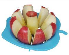 Blue plastic apple slicer, in apple shape.