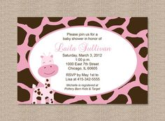 Pink Giraffe Baby Shower Invitations by Honeyprint on Etsy, $15.00