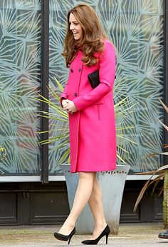 Stepping out for the last time before her royal maternity leave begins, pregnant Kate Middleton, who has a month to go until her due date, attended the first of three engagements in one day on Friday, March 27, in South East London.