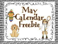 Safari/Zoo May Calendar Numbers