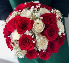 This classical bouquet arrangement is comprised of red and white roses with a touch of baby's breath. Any bride looking for a classical touch would love these! Red Flower Bouquet, White Rose Bouquet, White Roses Wedding, Red And White Roses, Red Rose Bouquet, White Wedding Flowers, Red Roses, Pink White, Bridesmaid Bouquet White