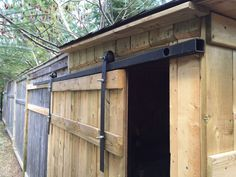 I built a couple of wooden sheds (okay, glorified yard barns) and wanted to equip one of them with sliding type barn doors. I like the look of sliding doors and they are very practical for a shed, allowing a much wider access opening than a normal door. But after visiting my local building outlets to check out the cost of the track and installation kit hardware I would need for such a project I developed a bad case of sticker shock. The cheapest place I could find was Tractor Supply, and…